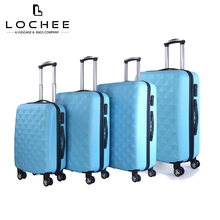 Zipper ABS Blue Wheeled Luggage Old/Vintage Travel Trolley Suitcase Set Cheap