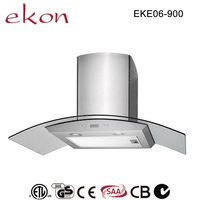 hot sale 900mm round tempered glass energy saving inox wall mounted 5 speeds chinese industrial range hoods