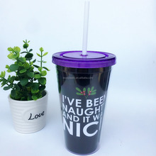 Double wall insulated plastic straw drinking cup with paper insert