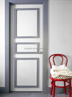 Modern design three rasised panel wood room door with contrast color