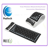 Waterproof Folding Flexible Bluetooth Wireless Silicone Keyboard for iPad