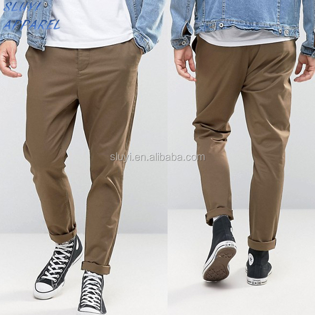 Custom fashion breathable casual trousers for men Tapered Chinos In Khaki OEM fashion comforable mens khaki pants