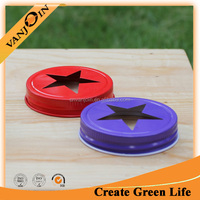 Regular Mouth Star Cutout Lids Metal Screw Cap For Candle