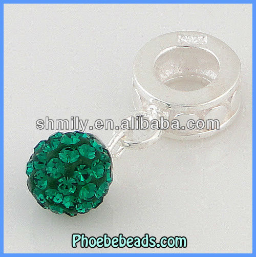 Wholesale Emerald CZ Rhinestone Crystal Sterling Silver Charms Dangle Beads 925 Stamped For DIY Making European Jewelry DSC13