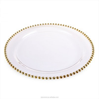 Wholesale Golden Beaded Wedding Decorative Glass Charger Plate