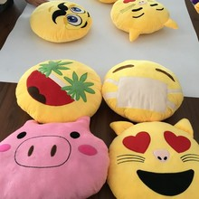 2016 New Product Soft Plush Emoji Pillow Stuffed Toys Round Plush Emoji Pillow