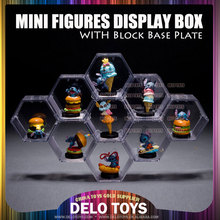 Plástico acrilico transparente juguetes construccion bloques mini figuras <span class=keywords><strong>ladrillos</strong></span> diamante hexagonal display case 6 colores base planchas DE00021