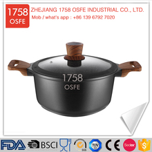 Professional chinese die cast stock soup pot with glass lid