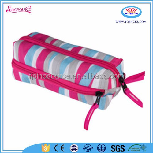 Chinese latest cheap triple velcro practical pencil case