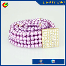 Custom wholesale beaded pearl stretch decorative dress belts