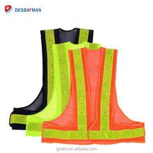 High Vis Fluorescent Yellow Orange Black Gilet Mesh Polyester Reflective Led Safety Vest For Running Jogging Cycling