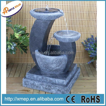 Polyresin Solar Water Fountain In Home Garden With Stone Color