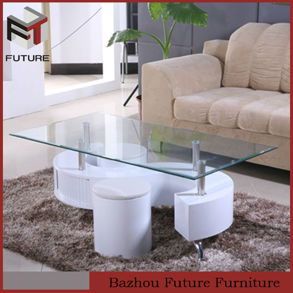 glass top white mdf center table with stool