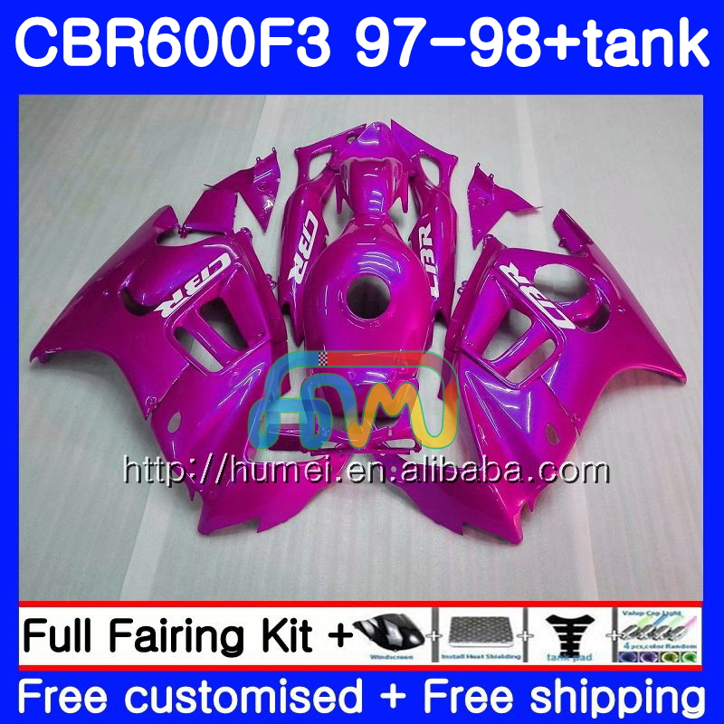 Body kit For HONDA CBR600RR F3 CBR 600F3 CBR600FS 14HM49 Pink Rose CBR 600 F3 FS CBR600F3 97 98 CBR600 F3 1997 1998 Fairing