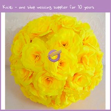RH37550 12ich China manufacture Flower decorative yellow kissing balls