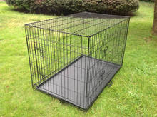Two Doors Design Folding Steel Dog Cage Dog Kennel With Plastic Tray