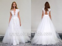 S376 Sexy V-Neck Cap Sleeve Floor-length Lace and Tulle Wedding Dresses Removable Skirt