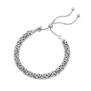 Cool style Sterling Silver Byzantine Bolo Bracelet chain for women