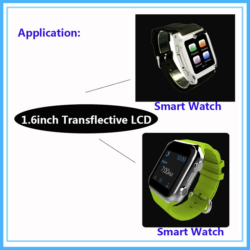 Topfoison sunlight readable tft lcd screen 1.6inch small size display outdoor lcd for golf watch