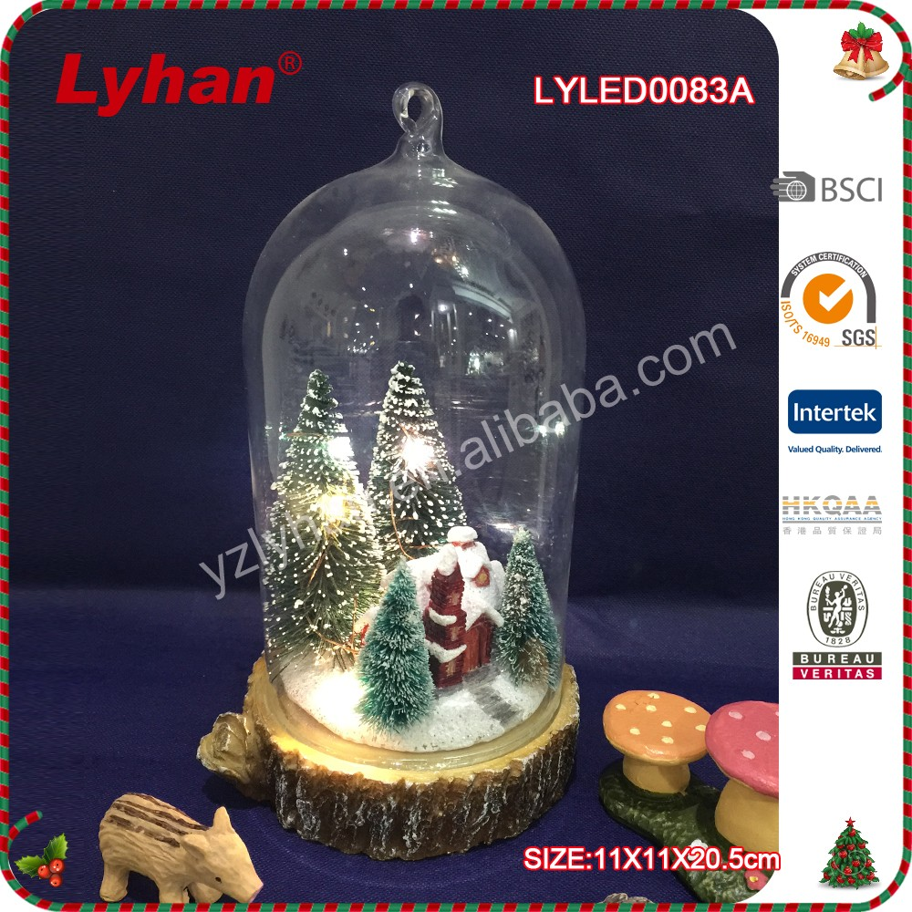Lyhan the glass resin house+the christmas tree for christmas home decoration
