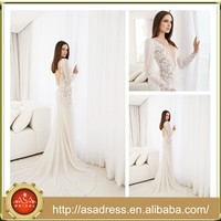JV50 Boutique Sexy Mermaid Bridal Gown Bare Back Arabic See Through Sleeve Long Satin Wedding Gown