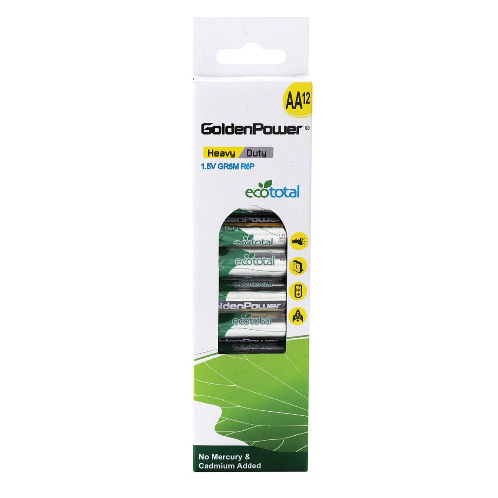 Golden Power Zinc Carbon 1.5V AA Size Dry Batteries R6P 15D 12PK