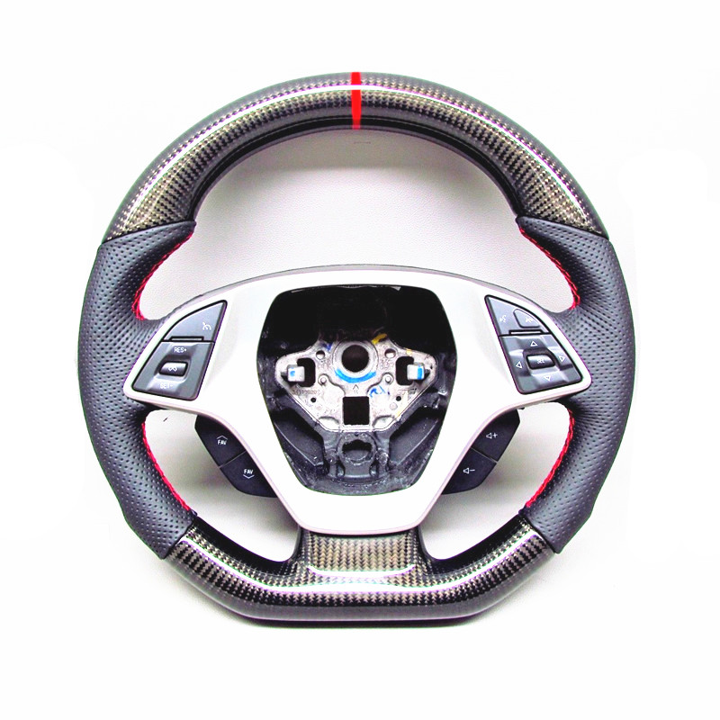 AUTO CARBON FIBER RACING CAR STEERING WHEEL FOR Chevy Corvette C7 <strong>Z06</strong> Thick Red Ring Steering WHEEL