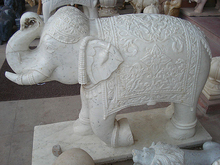 Home Decoration Stone Carving Small White Marble Elephant Sculpture
