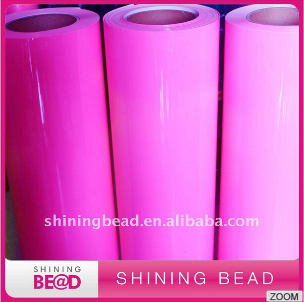 Wholesale PU heat transfer vinyl for T-shirt Korea quality neon pink PU heat transfer film