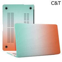 C&T Orange + Green Rainbow Rubberized Hard Case Cover for Macbook Pro 15.4""