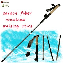 Factory price Adjustable Lightweight carbon fiber & aluminum 7075 hiking pole, carbon fiber walking stick ,fiberglass pole
