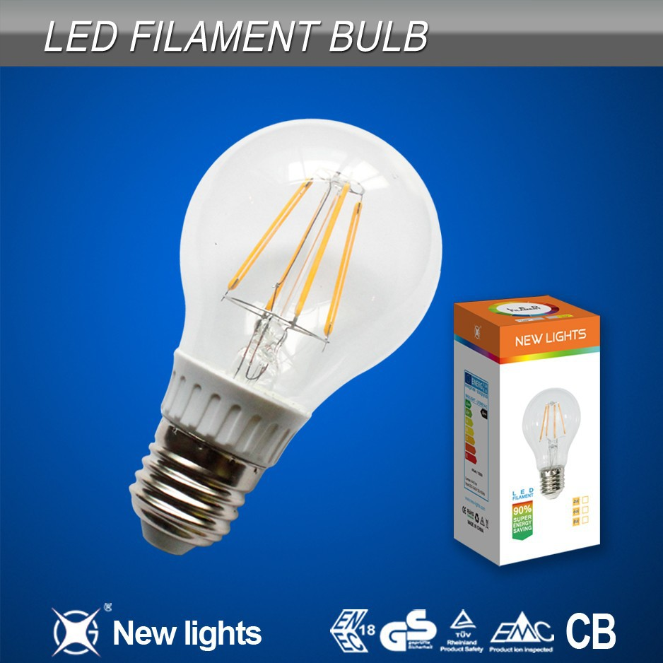 dimmable glass cover led filament bulb with CE,PSE,ROHS