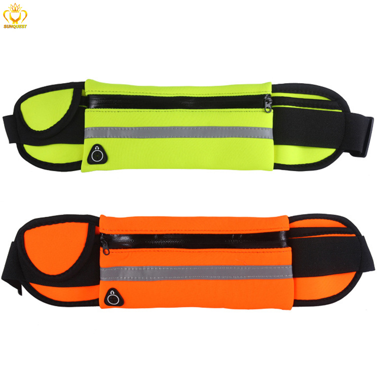 Waterproof neoprene running waist bag, outdoor fitness elastic sports running belt, elastic spandex money belt