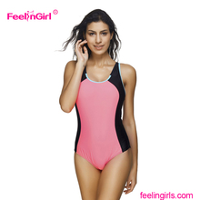 Elegant splice one piece off shoulder open sexy girl full swimsuit swimwear