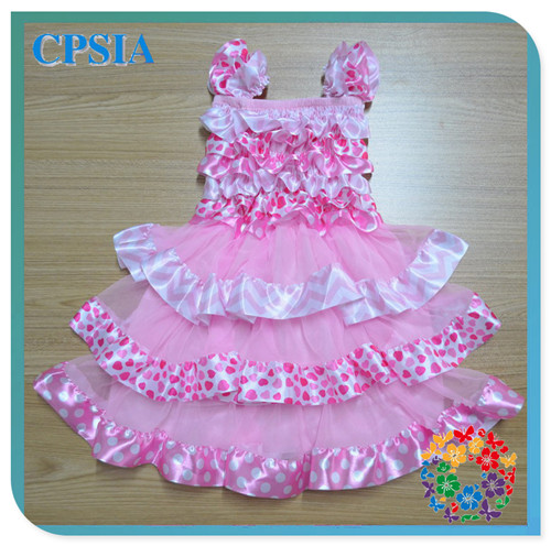 Pink Heart Print Design Children's Birthday Chevron Dresses Latest Design Baby Clothes Frock Design For Girls Evening Gown