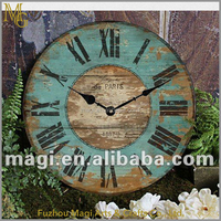 Home decoration vintage metal and wooden numeral wall clock