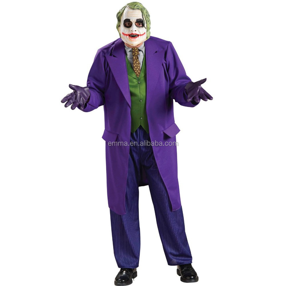 The Joker Costume Dark Knight Rises Halloween Fancy dress Mens BM572