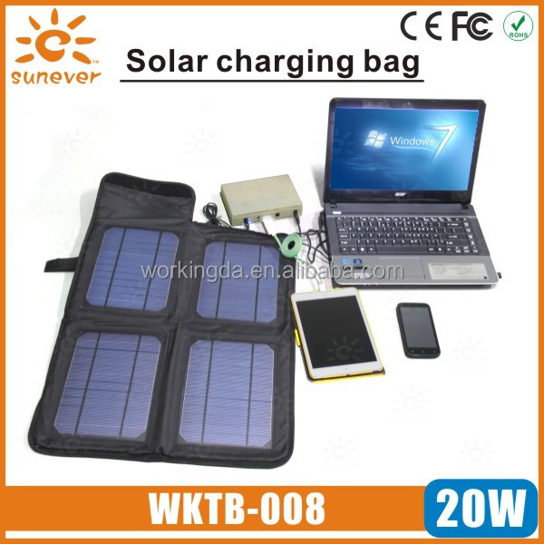 portable 20W solar power bank bag charger for iphone/laptop