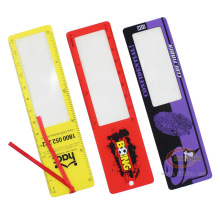 Full color printing customize plastic bookmark magnifier ruler/card magnifier for wholesale