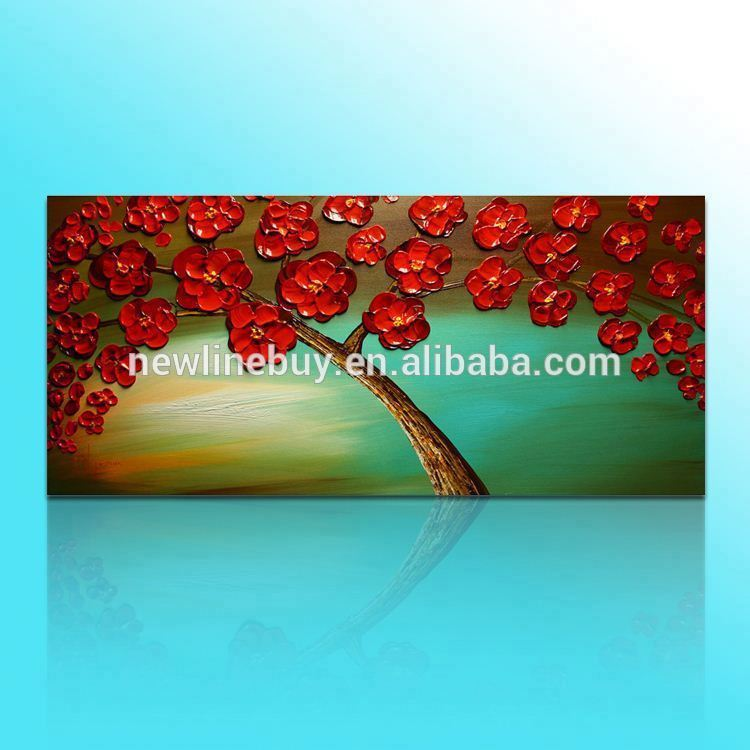 Beautiful red tree knife painting abstract floral tree oil painting wall decor tree canvas <strong>art</strong>