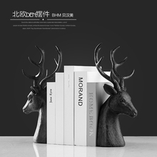 2017 New product high quality black resin deer head sculpture bookend crafts