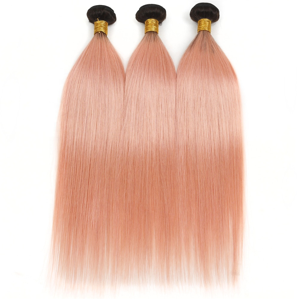 Wholesale Price Straight Hair Bundles Brazilian Remy Human Hair Extensions Ombre 1B Pink Blue Grey Yellow Green Hair Bundles