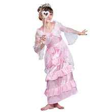 Hot Sale children girl Pink Flower Girl Lace Dress kids princess bridal costumes
