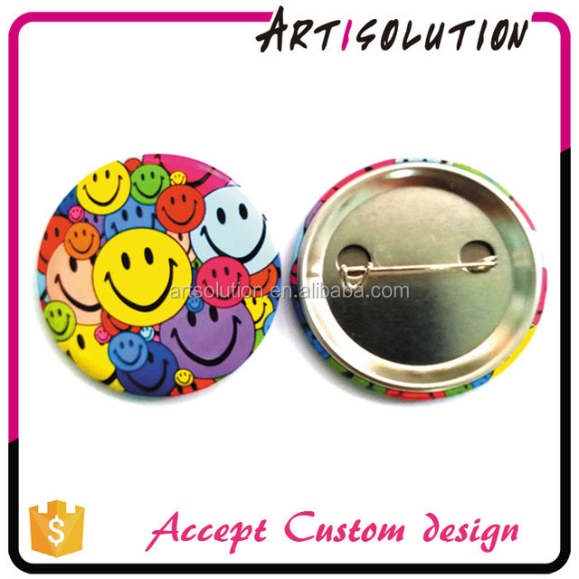 Wholesale Bulk Cheap Custom 58mm Smiley Face Tin Button Pin Badges