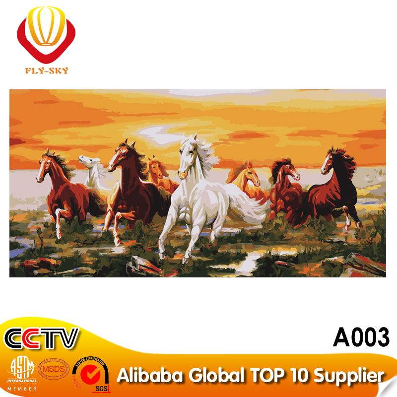 2015 DIY Digital abstract running eight horses oil painting on canvas kits for Wall Decoration and gift(60*120cm)