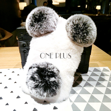 Luxury Plush Panda Phone Case For Iphone7 7s TPU Rex Rabbit Fur Ball Back Cover Phone Case For Iphone 6 6plus