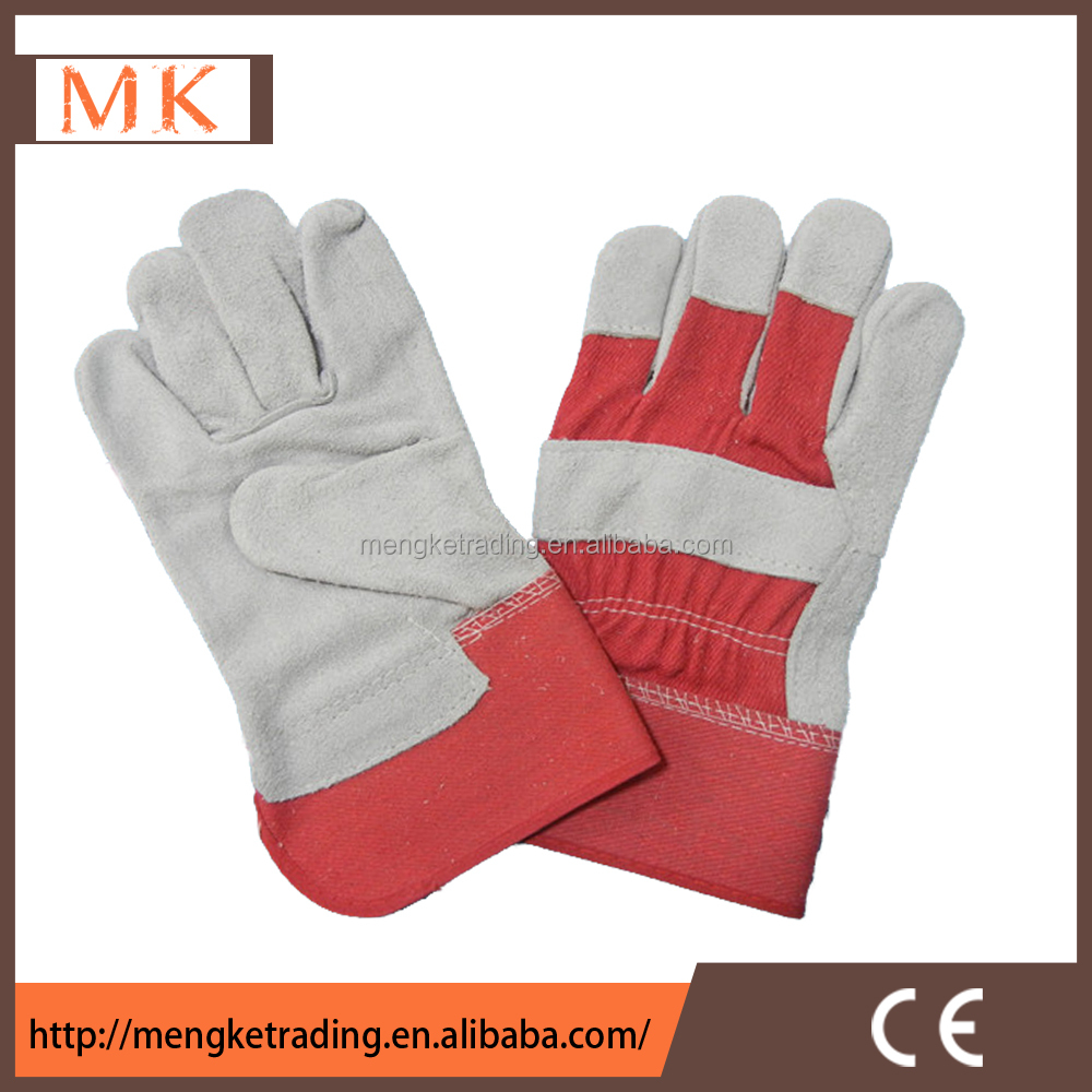 best sell leather driving gloves with red back stripe cotton