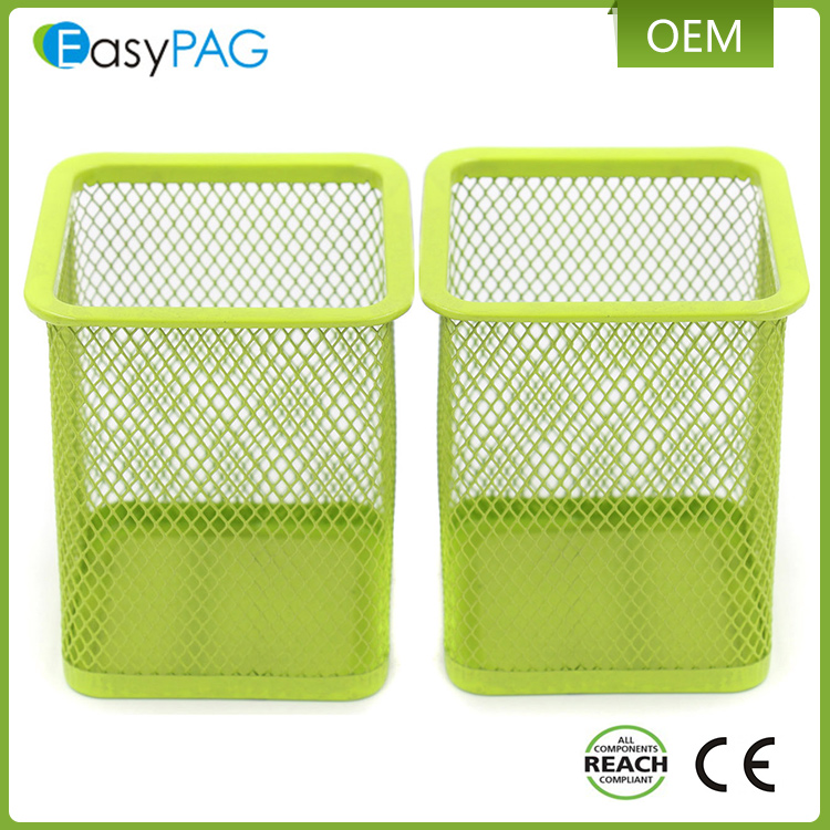 EasyPAG 2 Pcs 2.5 inch Square Steel Desk Organizer Mesh Style Pen Pencil Holder