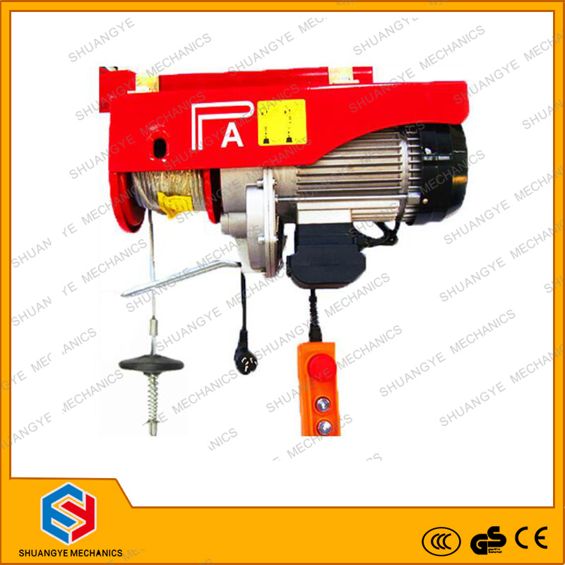shuangye 220v electric hoist, PA type small wire rope 220 volt electric winch
