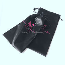 Black satin bag for hair wigs with custom logo on one side